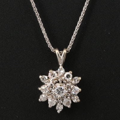 14K Diamond Cluster Necklace