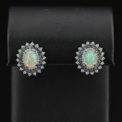 Sterling Opal Earrings with Triple Sapphire and Topaz Halo