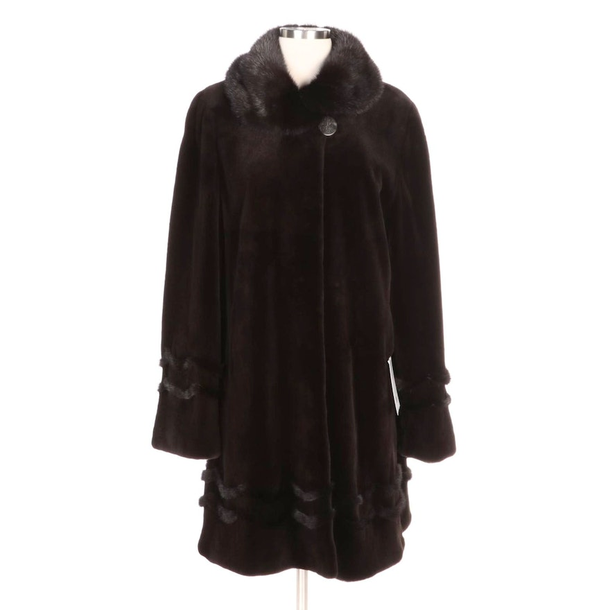 Brown Sheared Mink Fur Stroller Coat with Mink Fur Trim and Retains Merchant Tag