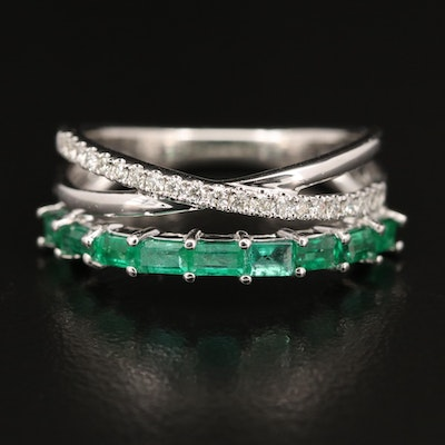 EFFY 14K Emerald and Diamond Crisscross Band