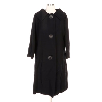 Union Made J.P. Stevens & Co. Black Swing Coat