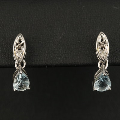 10K Aquamarine and Diamond Earrings