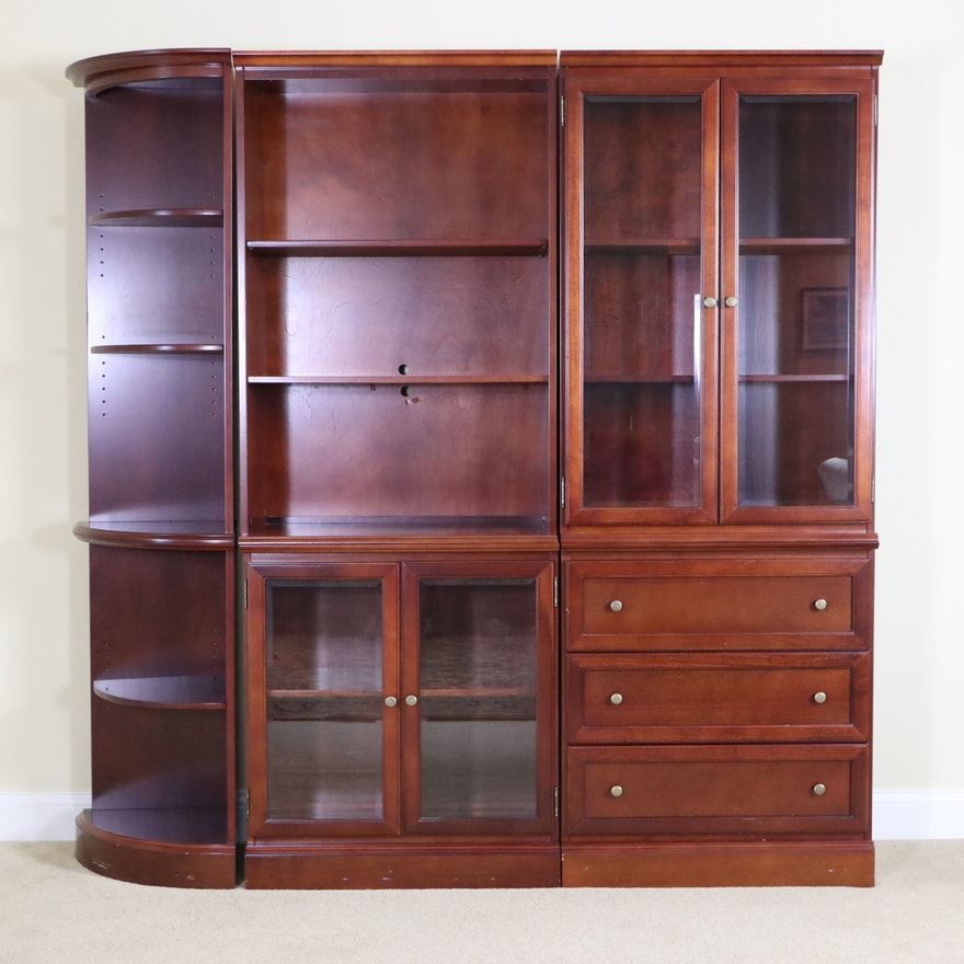 Modular Mahogany Stained Entertainment Cabinet