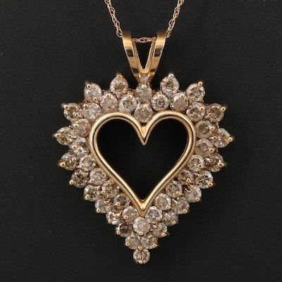 10K 3.00 CTW Diamond Heart Pendant on 14K Chain