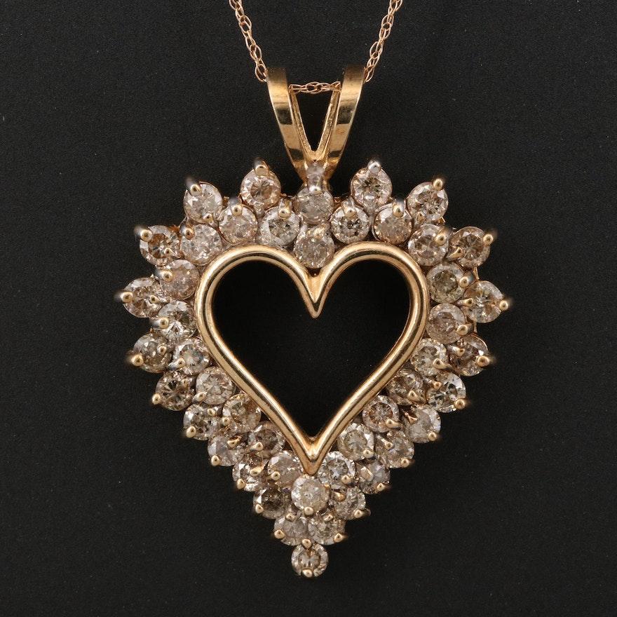 10K 3.00 CTW Diamond Heart Pendant on 14K Chain