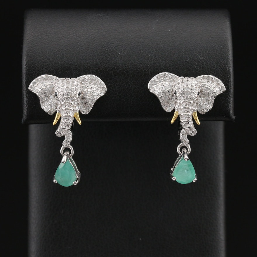 Sterling Beryl and Pavé Cubic Zirconia Elephant Earrings
