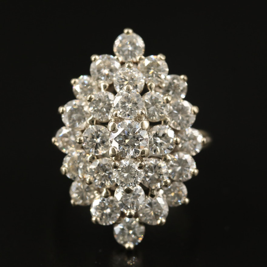 14K 4.88 CTW Diamond Tiered Cluster Ring