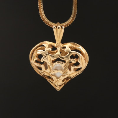 14K Pearl Openwork Heart on Italian Sterling Square Snake Chain Necklace