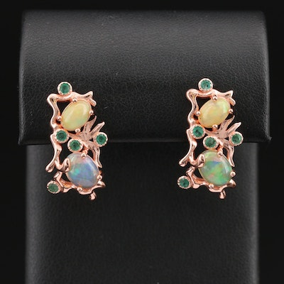 Sterling Opal and Emerald Organic Design Earrings