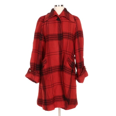 Red and Black Plaid Wool Swing Jacket