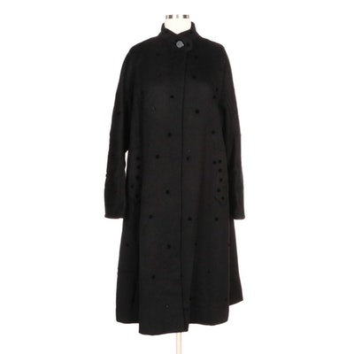 Robinson-Schwenn Button Embellished Black Wool Blend Swing Coat
