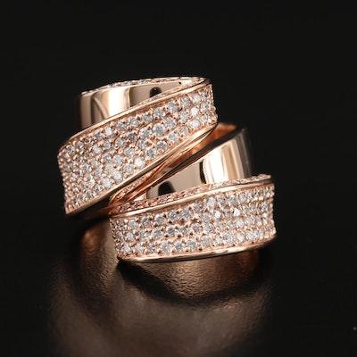 EFFY 14K Rose Gold 2.40 CTW Diamond Ribbon Ring