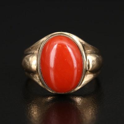 14K Bezel Set Coral Ring