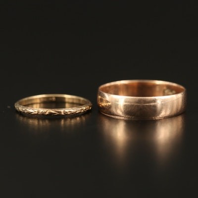 Vintage 10K Rose Gold Smooth and Engraved Bands