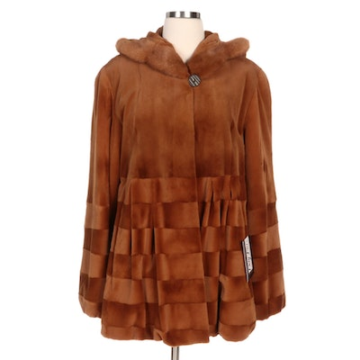 Mink Fur Trimmed Sheared Mink Fur Hooded Jacket in Whiskey with Merchant Tag