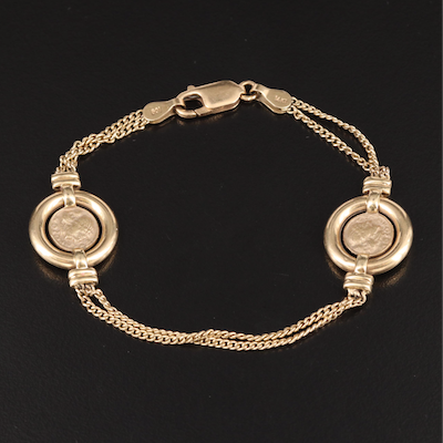 14K Double Curb Chain Bracelet with Miniature Ancient Coin Replicas