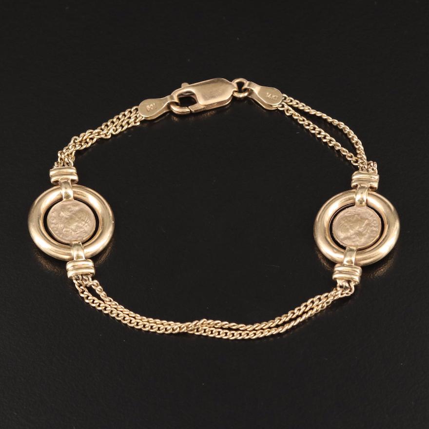 14K Double Curb Chain Bracelet with Miniature Ancient Coin Replicas