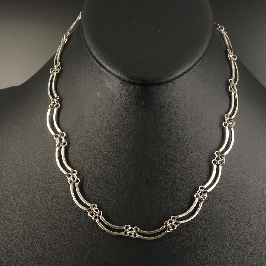 Mexican Sterling Double Curved Bar Chain Necklace