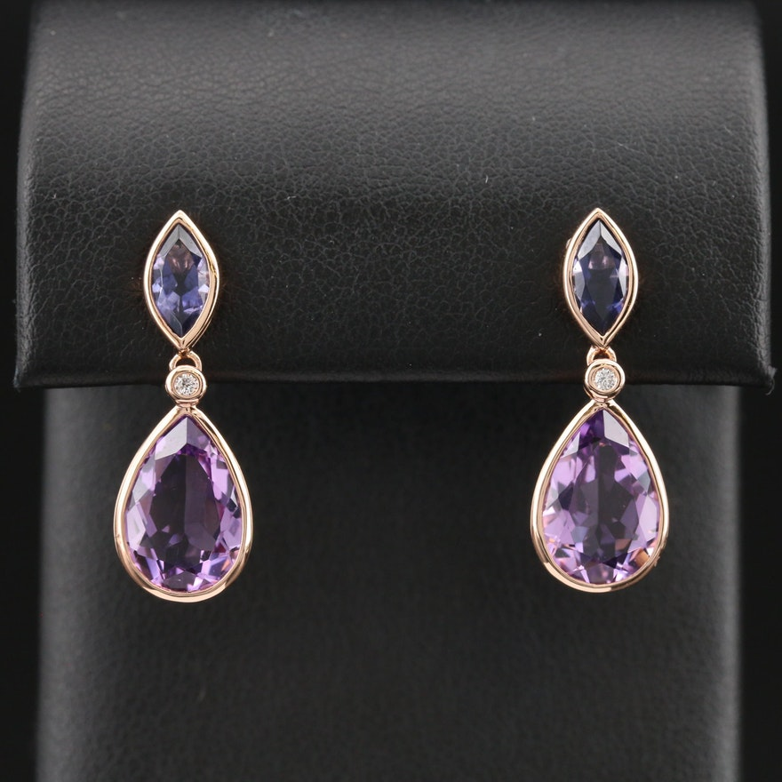 EFFY 14K Rose Gold Amethyst and Diamond Drop Earrings