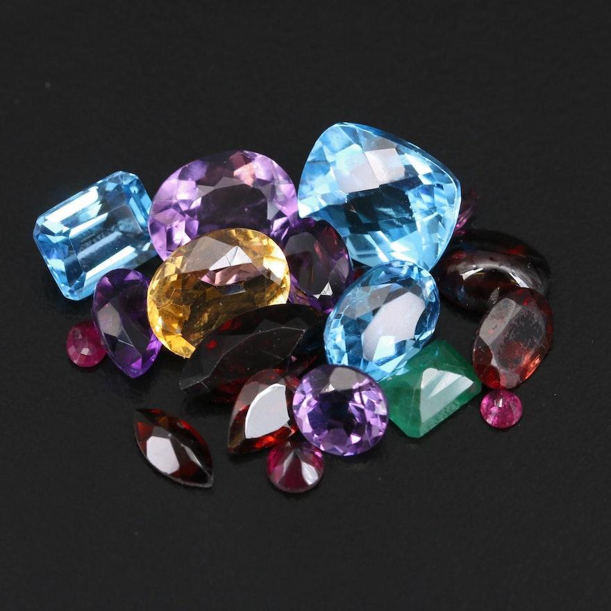 Loose 32.36 CTW Gemstones Featuring Topaz, Amethyst and Garnet