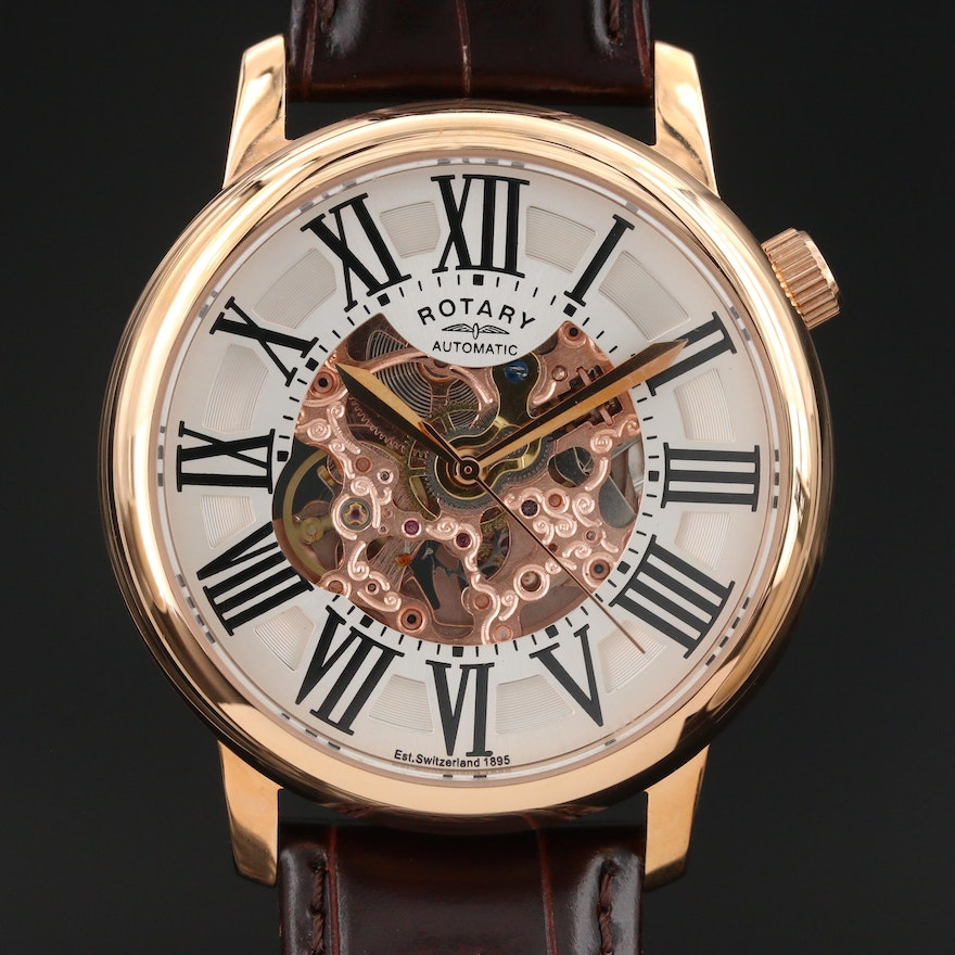 Rotary Rose Gold Tone Wristwatch with Partial Skeleton Dial