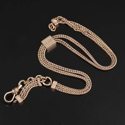 Antique Watch Fob Chain with Engraved Slide Charm