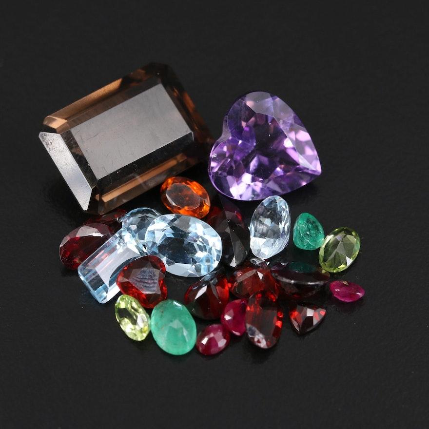 Loose 37.04 CTW Gemstones Featuring Smoky Quartz, Amethyst and Garnet