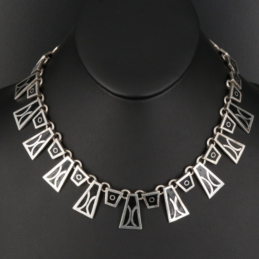 Vintage Mexican Sterling Geometric Link Necklace with Enamel Inlay
