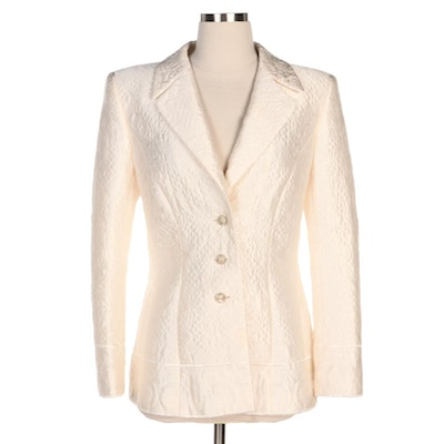 Escada Off-White Quilted Silk Blend Suit Jacket