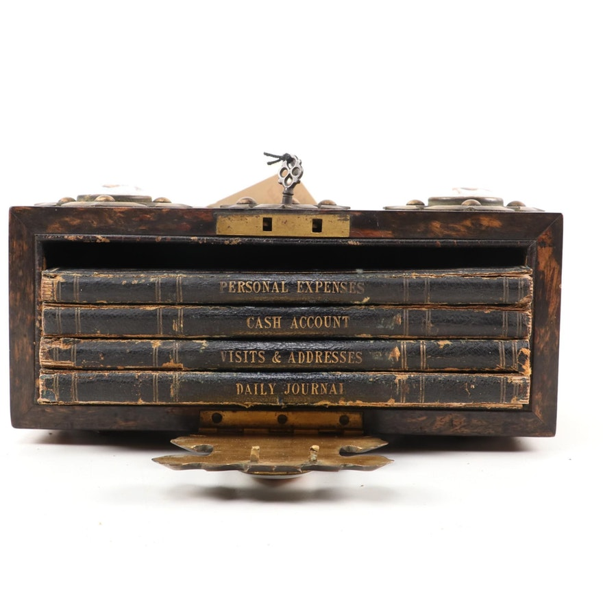 Ladies Olivewood Slipcase Book Box with Porcelain Medallions, Mid-19th Century