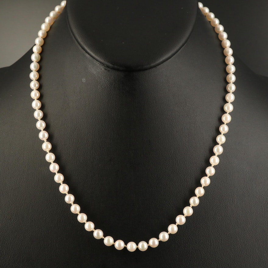 Pearl Necklace with 14K Clasp