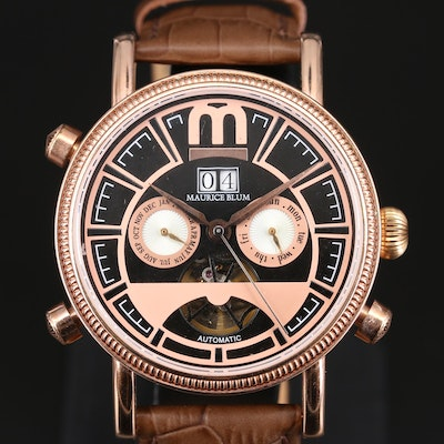Maurice Blum Rose Gold Tone Triple Date Wristwatch
