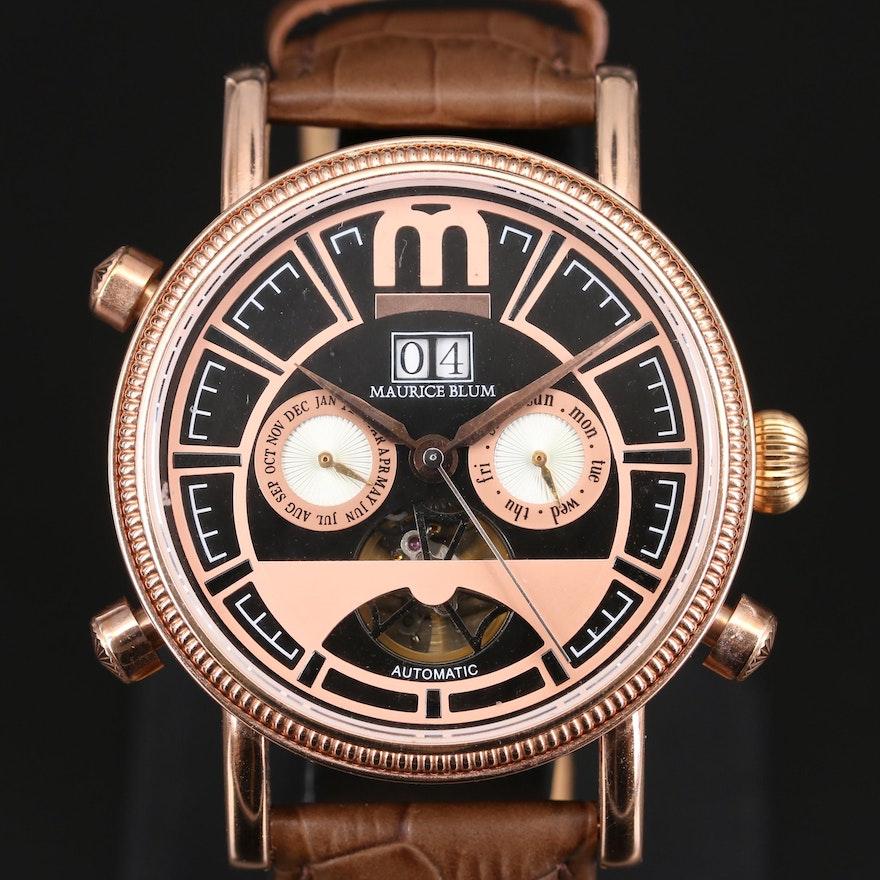 Maurice Blum Rose Gold Tone Triple Date Wristwatch