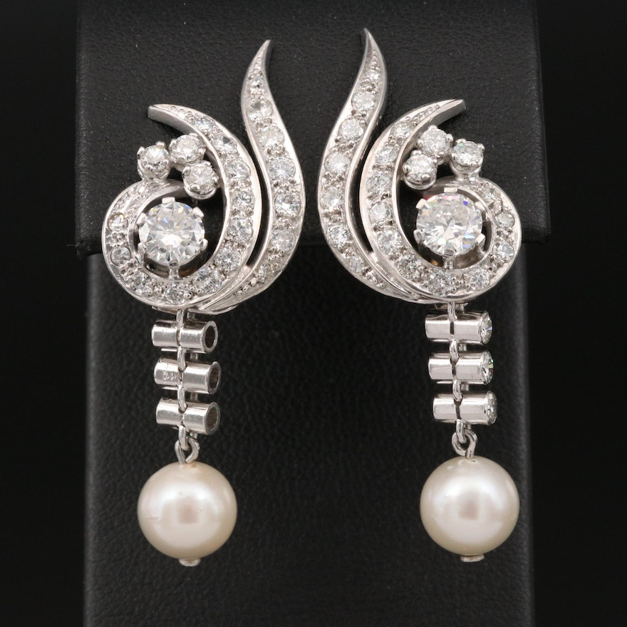 Retro Platinum 2.52 CTW Diamond Earrings with Removable Pearl Drops