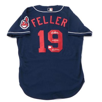 Bob Feller Signed Cleveland Indians Russell Baseball Jersey, COA