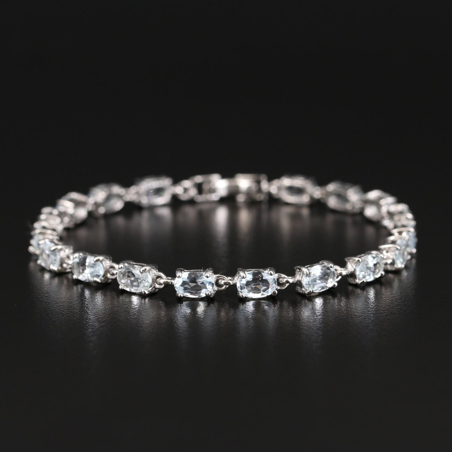 Sterling Aquamarine and Topaz Link Bracelet