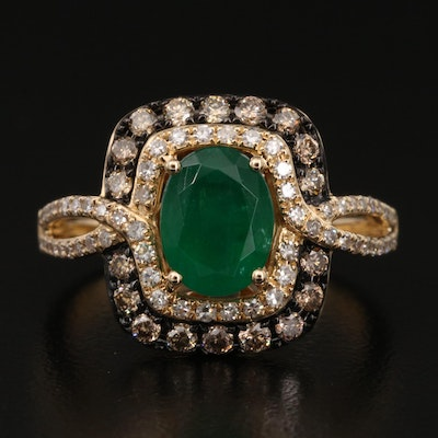 EFFY 14K 1.14 CT Emerald and Diamond Double Halo Ring with Twist Shoulders