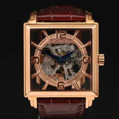Stührling Rose Gold Tone Wristwatch with Original Skeletal Case
