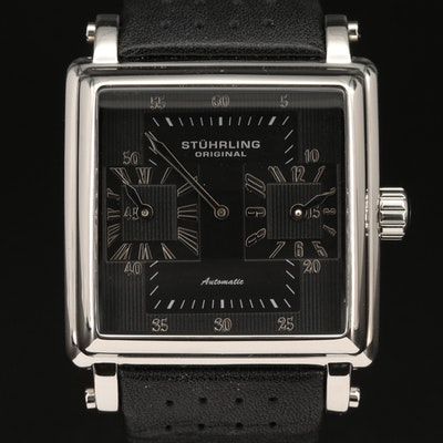 Stührling Dual Time Stainless Steel Automatic Wristwatch