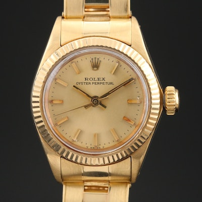 1979 Rolex Oyster Perpetual 6719 14K Gold Automatic Wristwatch