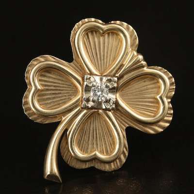 10K Diamond Four Leaf Clover Brooch