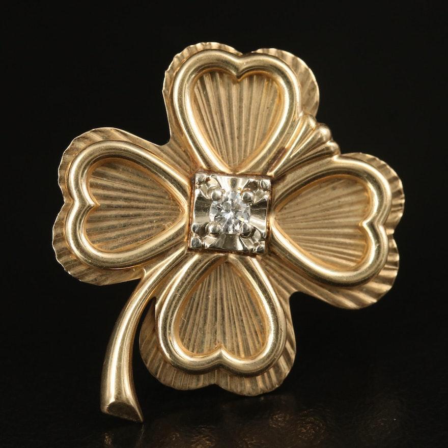 10K Diamond Four Leaf Clover Brooch