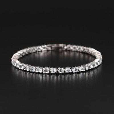 Sterling Aquamarine Link Bracelet