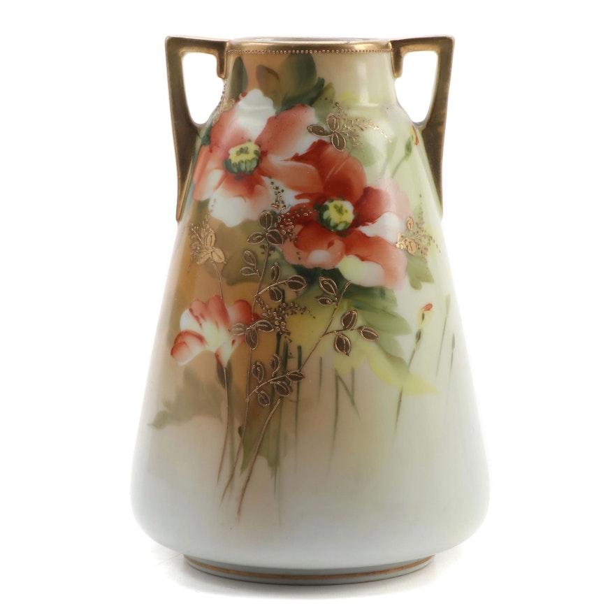 Morimura Bros. Nippon Hand-Painted Porcelain Handled Vase