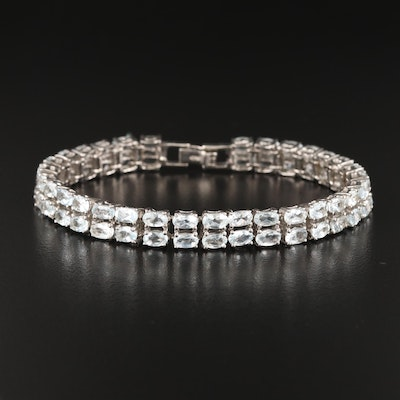 Sterling Aquamarine Double Row Line Bracelet