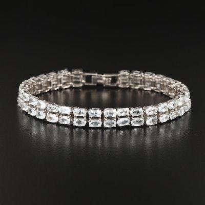 Sterling Aquamarine Double Row Line Bracelet