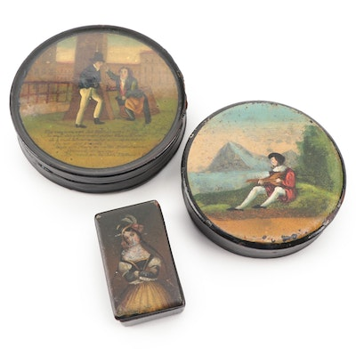 English Hand-Painted Lacquered Papier-Mâché Snuff Boxes, Early/Mid 19th Century
