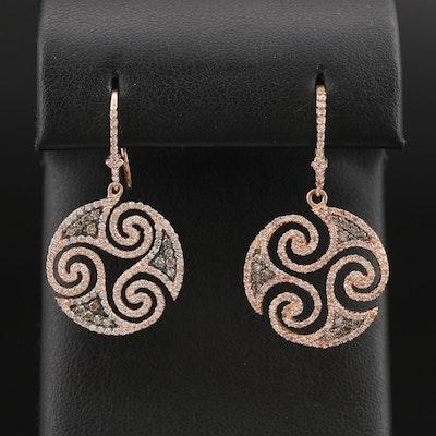 EFFY 14K Rose Gold 1.73 CTW Diamond Triskelion Earrings
