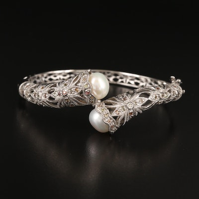 Sterling Pearl and Sapphire Hinged Bypass Bangle