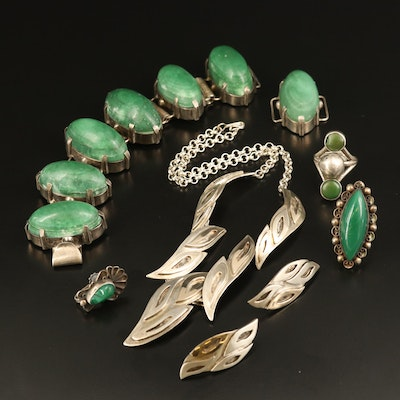 Sterling Silver Jewelry Including Malachite and Chalcedony